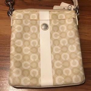 Coach Waverly CC Logo Ivory Patent Leather Swingpack Crossbody Purse Bag